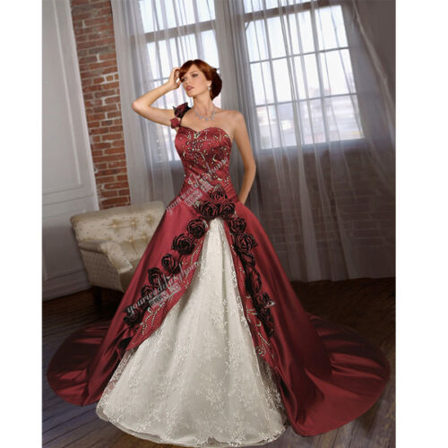 New Custom Medieval Victorian wedding dress rose one shoulder wedding gown H1644