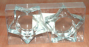 2-One-Pair-Tea-Light-or-Votive-Candle-Holder-Star-Shaped-Holders-Heavy-Glass
