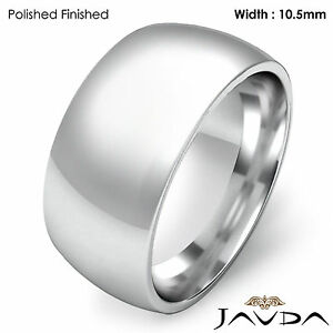 10.5mm Men Wedding Band Solid Dome Comfort Fit Ring 14k Gold White 15.3g 10-10.7