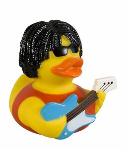 Badeente-Rockstar-Rocker-Ente-mit-Gitarre-Gummiente-Ente-X