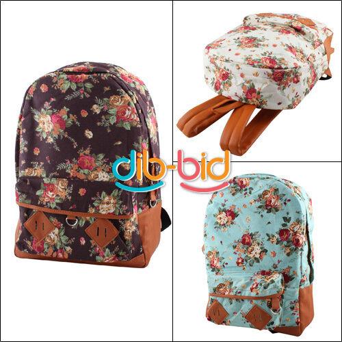 Women Shivering Cute Flower School Lady Shoulder Book Campus Bag Backpack 03