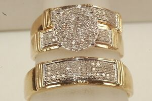 Diamond-And-yellow-GoldTrio-Set-Wedding-Engagement-Ring-His-And-Her-Jewelry