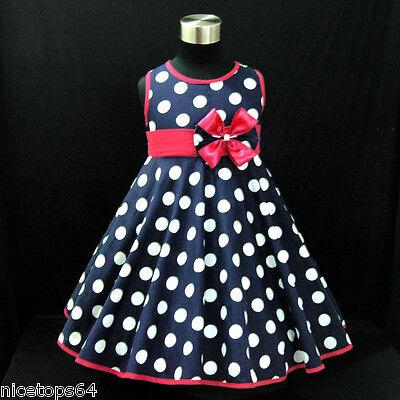 B3121  Navy Blues Polka Dot Christmas PartyGirls Dress SIZE  2,3,4,5,6,7,8,9,10T