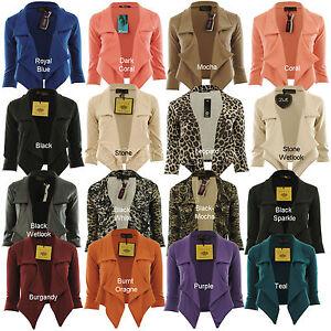 Jaliyah-New-Womens-Waterfall-Blazer-3-4-Sleeve-Ponte-Ladies-Blazer-Jacket-Coat