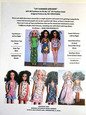 NG Creations Sewing Pattern #PP-90 for Summer Wardrobe fits Liv Doll