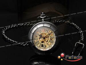 Vintage-Steampunk-Chain-Skeleton-Mechanical-Pocket-Watch-Roman-Arabic-Numerals