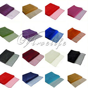 Sheer-Organza-Table-Runner-Chair-Sash-Bow-12-034-x-108-034-Wedding-Party-DIY-Fabric