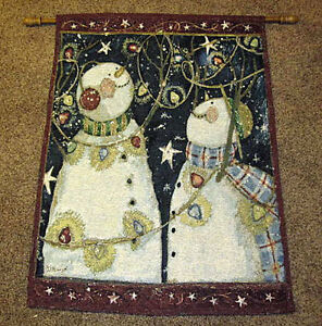 Snow Much Fun ~ Snowmen Lighted Christmas Tapestry Wall Hanging