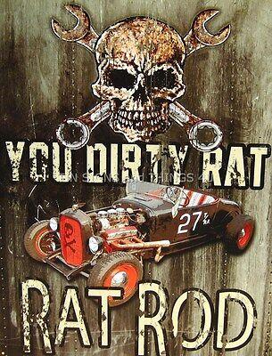 You Dirty Rat Hot Rod TIN SIGN vintage garage bar wall decor metal poster 1538