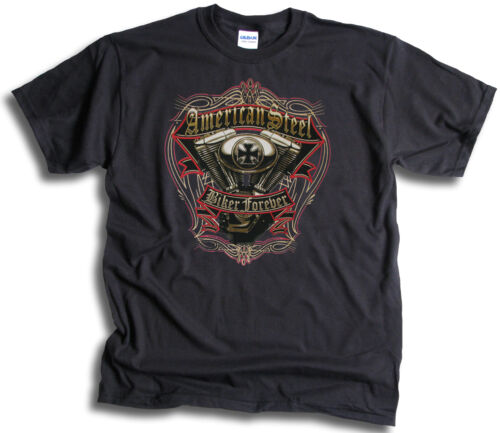 American Steel USA Biker Forever Mens T Shirt Sm-3XL