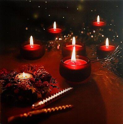LED Leinwand mit flackernden Kerzen Deko Keilrahmen Bild Kerze Wanddekoration