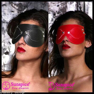 Augenmaske Kunst Leder mit Druckknöpfen verschließbare Augenöffnungen 2 Farben