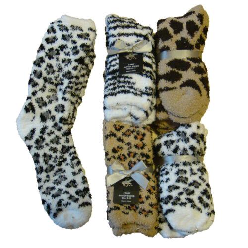 *BEVERLY HILLS POLO CLUB* 4 Pairs Animal Print Cozy,Fuzzy Socks 9-11