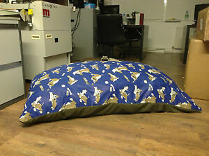 Blue-Luxury-fibre-foam-filled-hypoallergenic-dog-bed-cushion-removable-zip-cover