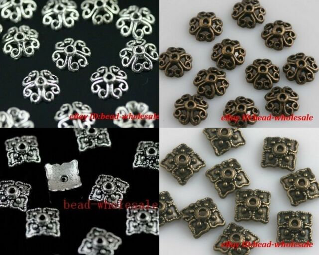 100pcs Retro Silver/Bronze Tone Flower&Square Hollow Style Bead Caps Finding 8mm