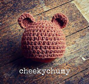 Super-cute-handmade-crochet-bear-hat-with-ears-Photo-photography-prop-Newborn