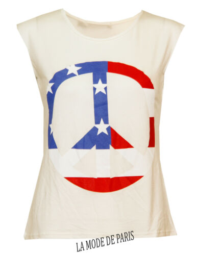 L39 NEW WOMENS LADIES STAR AND STRIPE AMERICAN FLAG PEACE PRINT SLEEVELESS TOP