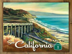 California hwy 1 metal sign on rustic barn wood frame for Home decor hwy 6