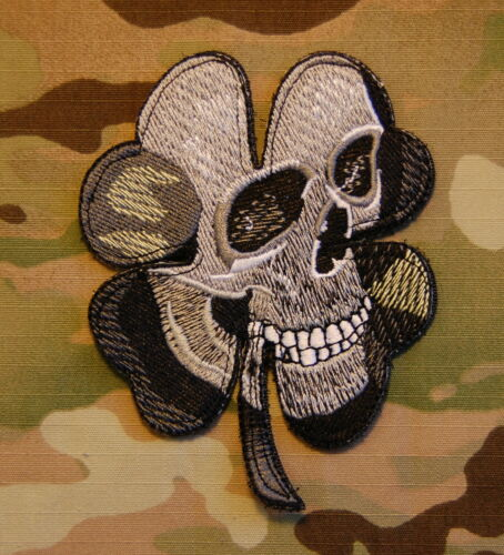 Pirate Skull Clover Military Army Morale MilSpec Black Ops SWAT ACU Patch Hook
