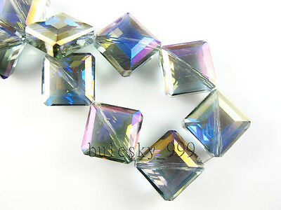 25pcs Faceted Glass Crystal Diagonal Square Finding Spacer Beads 13mm FREE SHIP