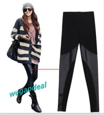 New Style Women Girl Fashion Splendid Stretchy Faux Leather Panel Leggings Black