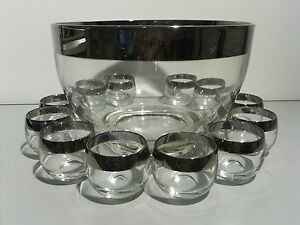 Vintage-Dorothy-Thorpe-Punch-Bowl-amp-12-Roly-Poly-Glasses-Silver-Band-Mad-Men