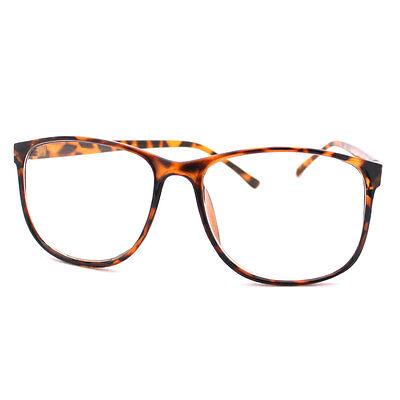Tortoise Brown Large Nerdy Clear Lens Thin Horn Rim Geek Eye Glasses Frame New
