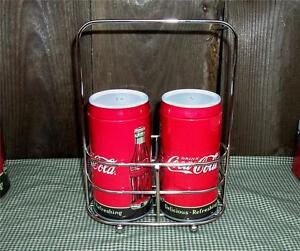 2011-Coca-Cola-Tin-Salt-amp-Pepper-Shakers-Holder-Set-w-Caddy-Coke-Kitchen-Decor