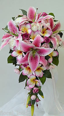 wedding flower orchid bouquet latex silk Pink Rose Cream lily teardrop set