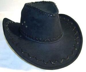 1-NEW-BLACK-COLOR-LEATHER-style-COWBOY-WESTERN-HAT-new-cowgirl-mens-womens-HT75