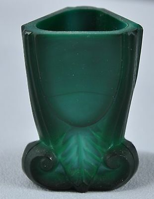 Czech / Bohemian Art Glass Green Malachite Glass Toothpick Holder