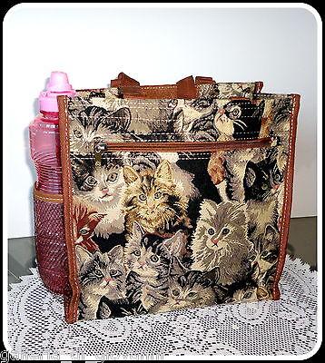 "PURRFECT TOTE Tapestry Woman's Handbag Bag Cat Kitty 13""W x 13""H x 7""D  Drop 14"""