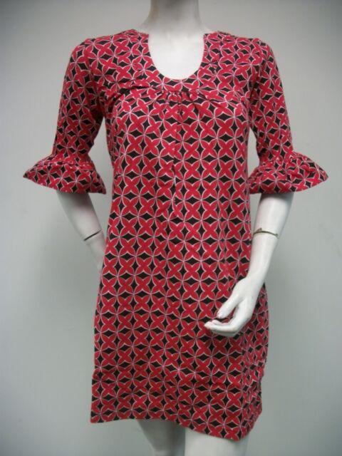 Tracy Negoshian Mari Red Black Floral Geometric Dress Bell 3/4 Sleeve NEW NWT