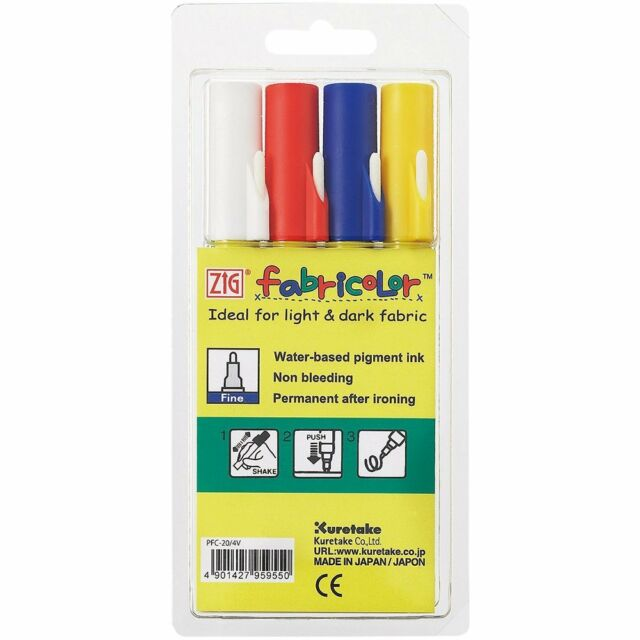 Zig Memory System Fabricolor Fabric Marker Pen Kit Permanent 2mm tip 4 Markers