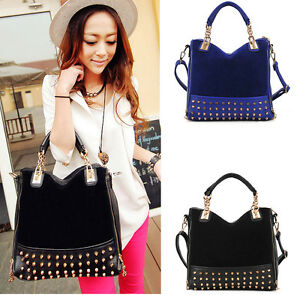 NEW-Korean-Fashion-Women-lady-Rivet-Tote-Shoulder-Messenger-Handbag-Hobo-Bag