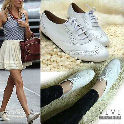 Real Sheepskin Leather Vintage White Lace-up English Oxfords Shoes Flat Brogue