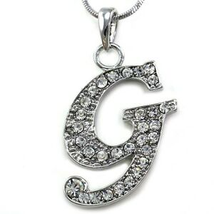 image is loading alphabet initial letter g pendant necklace charm silver