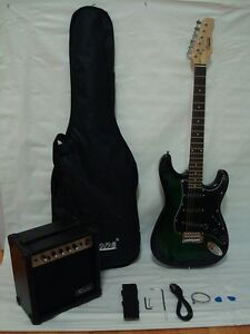 green black electric guitar set with strap cord gig bag and 15w amp ebay. Black Bedroom Furniture Sets. Home Design Ideas