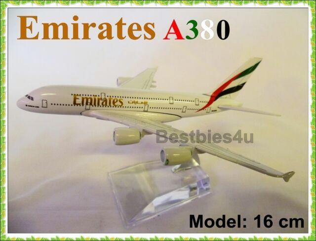 16cm A380 JUMBO EMIRATES EK DUBAI AIRBUS AIRLINE METAL PLANE MODELS AEROPLANE