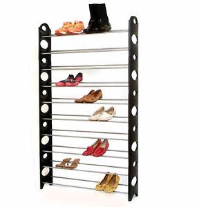 Plixio-50-Pair-Free-Standing-Adjustable-Shoe-Rack-Organizer-Space-Saving-10-Tier