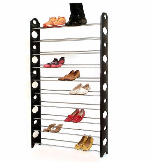 New Plixio 50 Pair Free Standing Shoe Rack Metal Organizer Space Saver 10 Tier