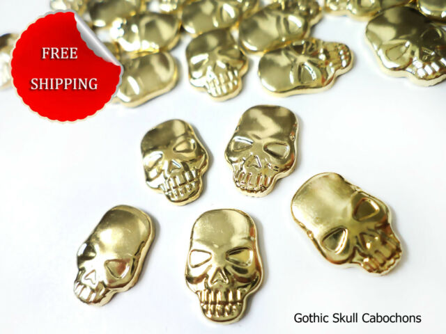 DIY 80 COPPER GOLD Gothic Skull Flat Back Cabochons Hot fix Iron On Glue On