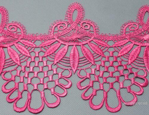 3 Yards Pink Venise Lace Fabric Chrming Fringe Embellishment Crafts Sewing Trim