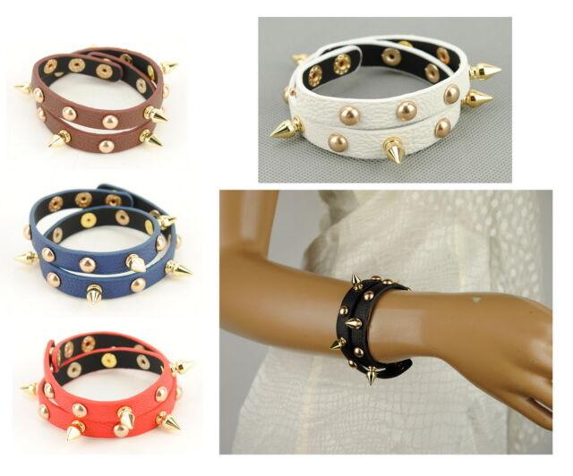 Women Faux Leather Rock Studs Rivet Cuff Wristband Punk Spike Vintage Bracelet
