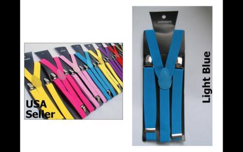 All colors Mens Womens Clip-on Suspenders Elastic Y-Shape Adjustable Braces