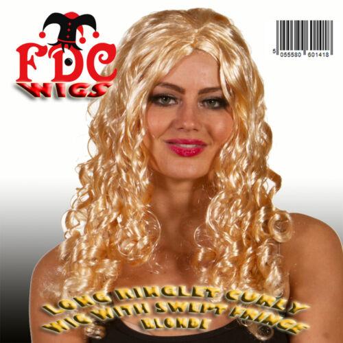 RINGLET Lungo Parrucca Riccia Con Frangia sweep Marrone Nero Bionda Costume