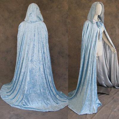 Lined Light Blue Velvet and Silver Satin Cloak Cape Wedding Wicca Medieval SCA