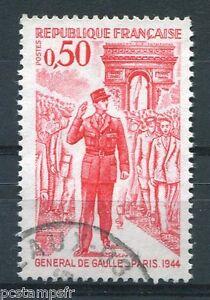 FRANCE-1971-timbre-1697-GENERAL-DE-GAULLE-oblitere