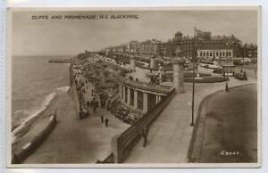 w14o12-345-Real-Photo-of-Cliffs-amp-Promenade-BLACKPOOL-1940-Used-VG