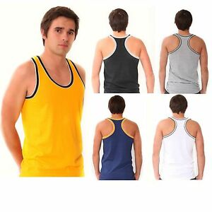 6-x-Mens-Coloured-100-Cotton-Fitted-Ultra-Rib-Muscle-Gym-Top-Vest-Singlets